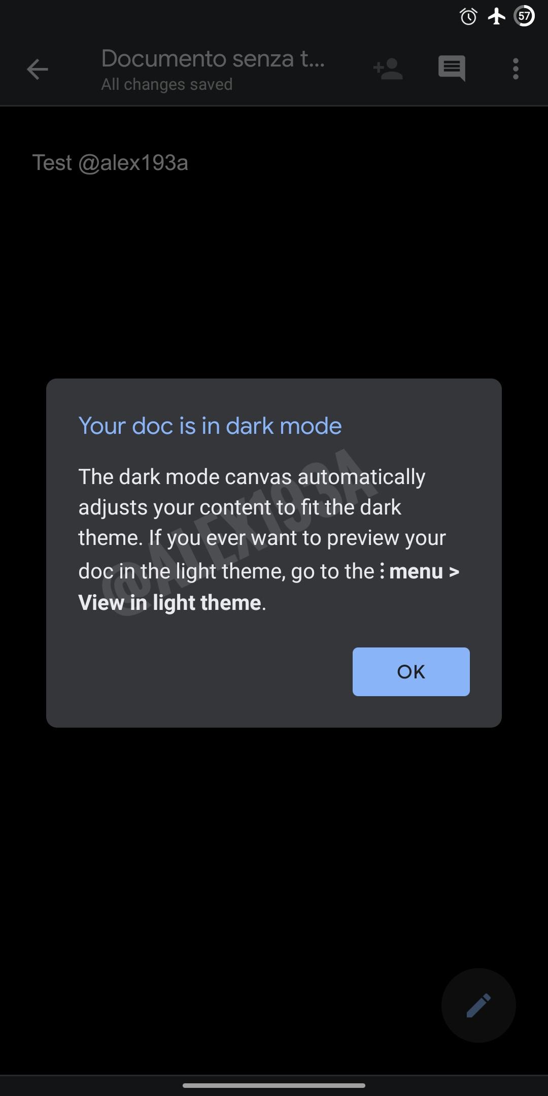 google documenten donkere modus
