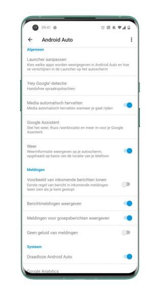 Android Auto - instellingen