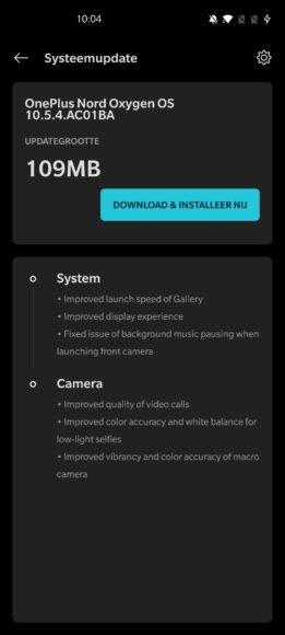 OnePlus Nord OxygenOS 10.5.4-update
