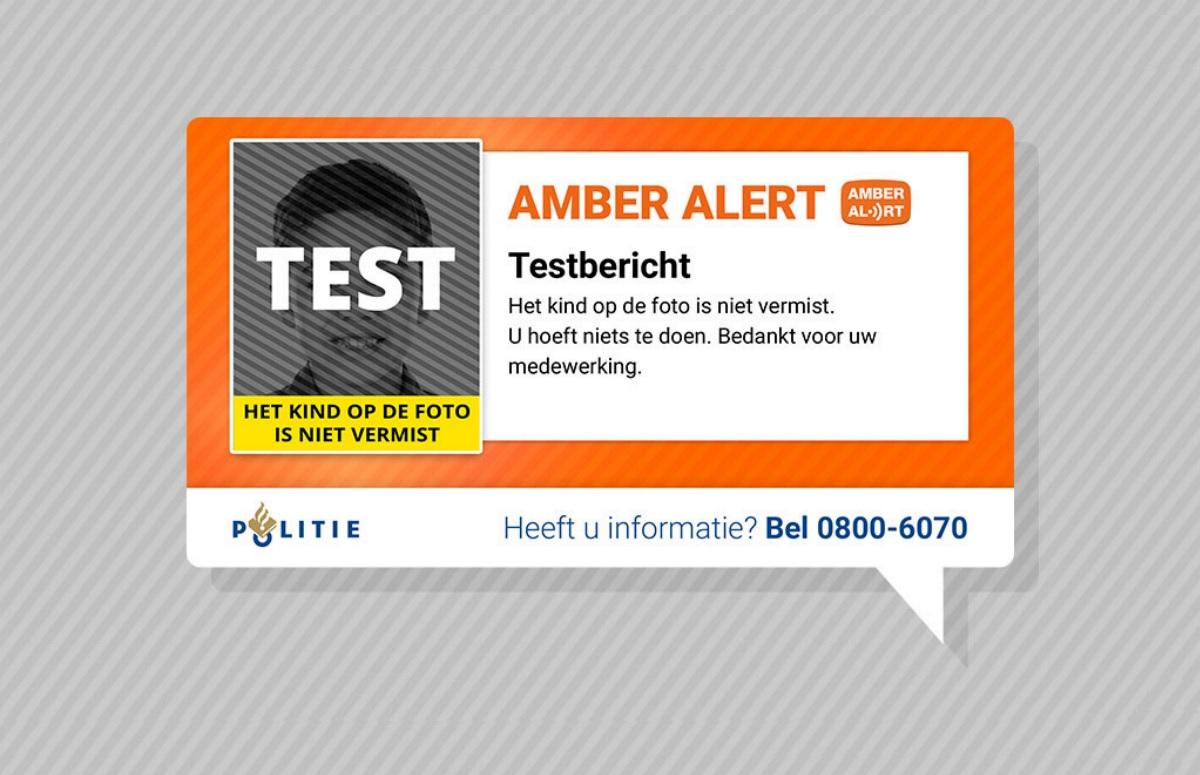 AMBER Alert stuurt vandaag testbericht uit om 12.00