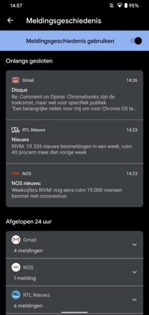 android 11 meldingsgeschiedenis