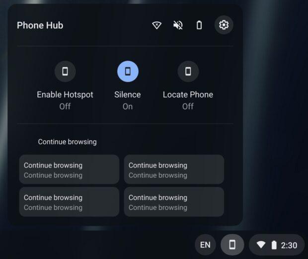 Chrome OS Phone Hub