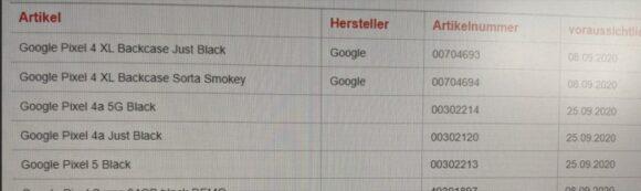Google Pixel 5 aankondigingsdata Duitsland