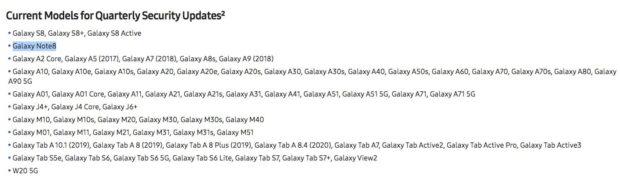 samsung galaxy note 8 updates