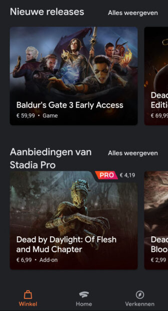 Google Stadia mobiele data