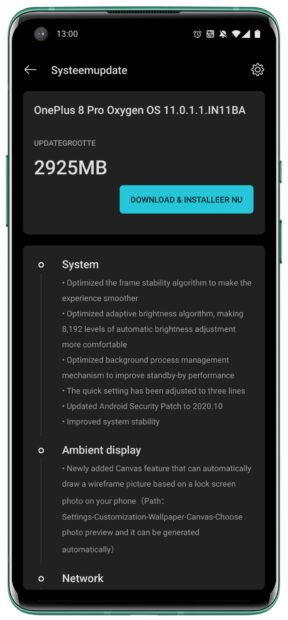 Android 11-update OnePlus 8 Pro