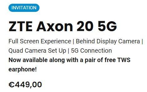 ZTE Axon 20 5G-prijs