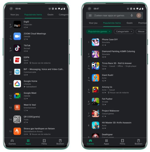 Google Play Store - stijgers en dalers