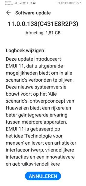 EMUI 11-update Huawei P30 (Pro)