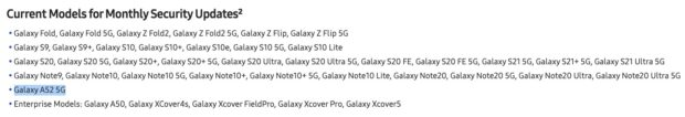 samsung galaxy a52 updates