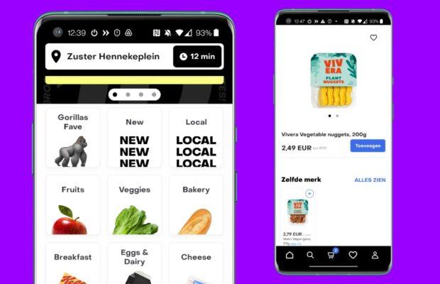Online supermarkten Gorillas App