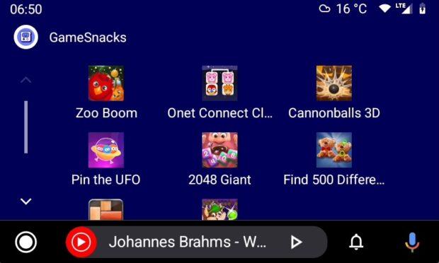 Android Auto GameSnacks