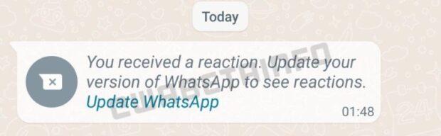 WhatsApp updaten reactie op bericht