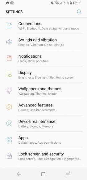 Samsung Galaxy S8 screenshot